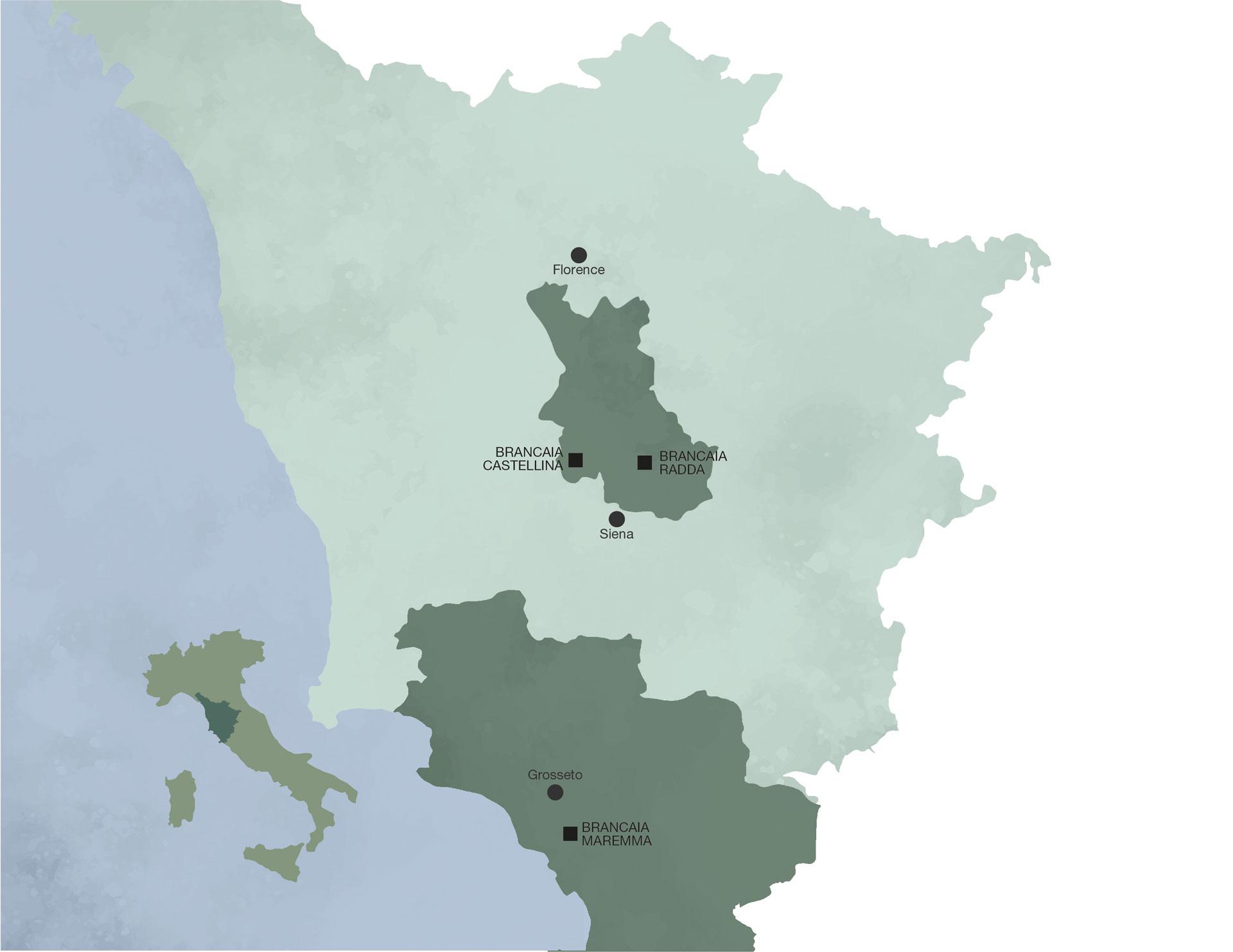 Mappa dei vigneti Brancaia